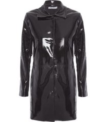 casaco de vinil isabella fiorentino para oqvestir - preto