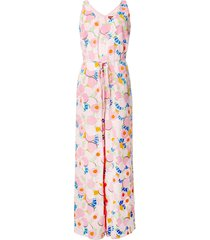 staud abstract peach blossom jumpsuit - pink