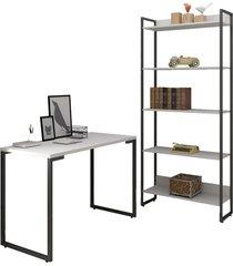 conjunto escritã³rio mesa escrivaninha 120cm e estante 5 prateleiras estilo industrial new port f02 branco - mpozenato - branco - dafiti