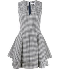derek lam 10 crosby koren fit and flare gingham twill dress - blue