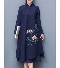 donna casual abito sciolto cinese in 2 strati