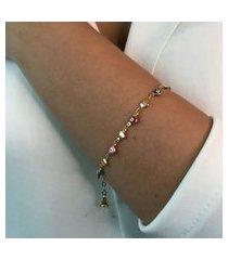 pulseira dourada elo coração e olho grego colorido