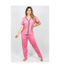 pijama adulto feminino longo liso aberto malha rosa