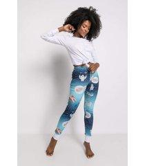 pijama manga longa acuo pijama manga longa azul - azul - feminino - dafiti