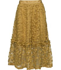 caballo lace flared skirt knälång kjol gul french connection