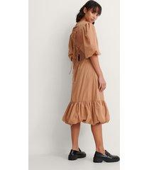 trine kjaer x na-kd back detail volume sleeve dress -