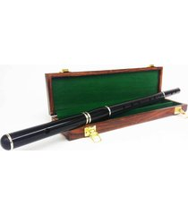 professional d flute african black wood natural finish with wooden case 4 part