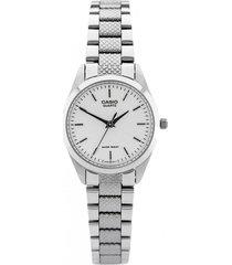 reloj casio dama ltp 1274d 1b acero inoxidable - blanco
