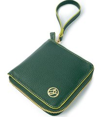 billetera en cuero compacta paris verde
