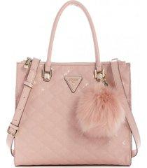 cartera astrid large status satchel rosado guess