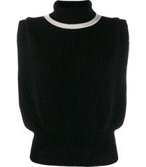 cashmere in love roll-neck jade vest - black