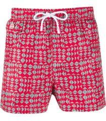kiton short de natação com estampa geométrica - vermelho