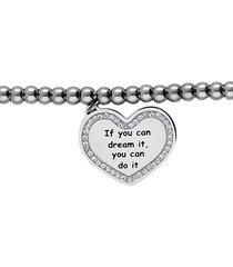 bracciale 'if you can dream it, you can do it' in acciaio e strass per donna