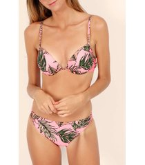 bikini admas 2-delige bikini push-up set fluor leaves roze adma's