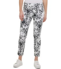calvin klein floral-printed polished mid-rise pants