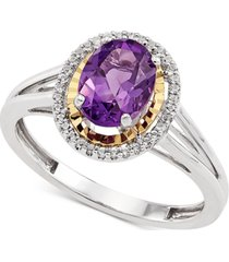 amethyst (1-1/8 ct. t.w.) & white topaz (1/6 ct. t.w.) ring in sterling silver & 14k gold-plate