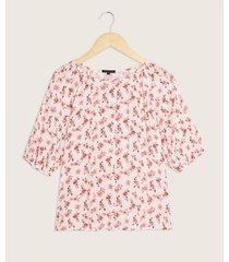 blusa manga corta codo con recogido y pechera