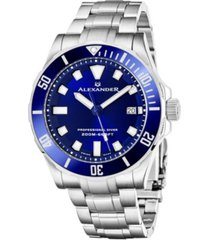 alexander watch a501b-02, mens quartz diver watch with stainless steel case on stainless steel bracelet