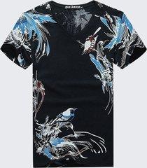 t-shirt in stile folk con stampa magpie da uomo, colletto a v casual, maniche corte, tops