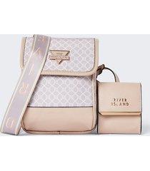 river island womens pink nylon detachable pouch bag