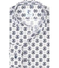 mouwlengte 7 shirt wit navy geprint r2