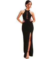 vestido racy modas longo com detalhe em renda preto