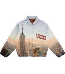 supreme aerial tapestry harrington jacket - blue