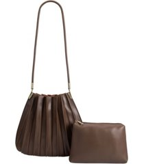 melie bianco carrie pleated vegan leather shoulder bag