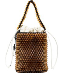 jil sander beaded leather bucket bag - brown