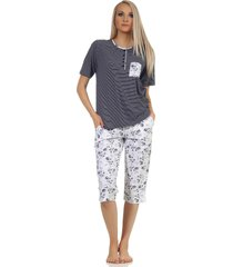 dames pyjama normann 204 90 881-m 40/42-donker blauw