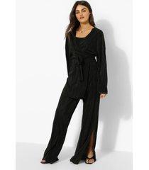 plisse broek met split, black