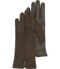 forzieri designer women's gloves, brown touch screen leather women's gloves