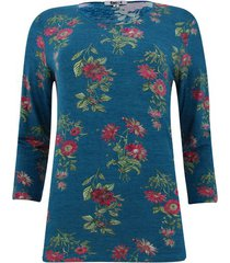 camiseta con estampado floral manga 3/4 color azul, talla s