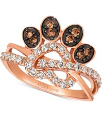le vian heart & paw print nude & chocolate diamond ring (5/8 ct. t.w.) in 14k rose gold