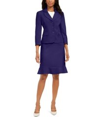 le suit petite flared-hem skirt suit