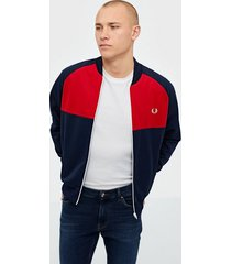 fred perry colour block track tröjor carbon blue