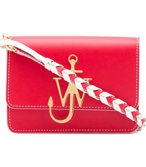 jw anderson anchor braided-detail crossbody bag - scarlet