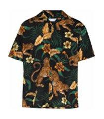 desmond & dempsey camisa de pijama com estampa de selva - preto