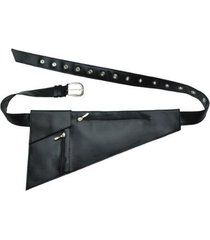 pochete assimetrica ziper black
