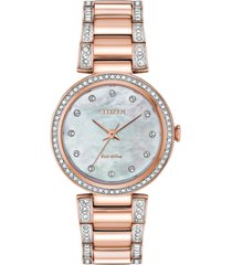 citizen eco-drive women's silhouette pink gold-tone stainless steel & crystal bracelet watch 28mm