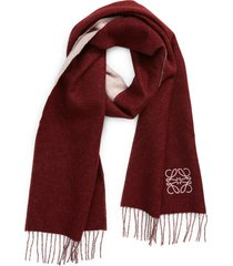loewe anagram double face wool & cashmere scarf in pink/burgundy at nordstrom