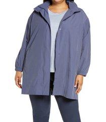 plus size women's eileen fisher stand collar organic cotton blend coat with hidden hood, size 2x - blue