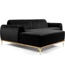 sofã¡ 3 lugares com chaise base de madeira euro 245 cm veludo preto - gran belo - preto - dafiti