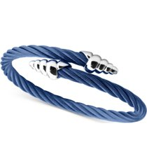 charriol cable bypass bracelet in blue pvd stainless steel & sterling silver