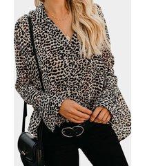 marrón leopardo escote en v un solo pecho diseño mangas acampanadas blusas sueltas