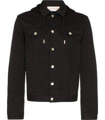 alexander mcqueen logo embroidered hooded jacket - black