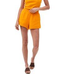 michael stars peggy smocked waist gauze shorts, size medium in saffron at nordstrom