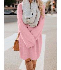 vestido de manga larga con cuello redondo y forro polar