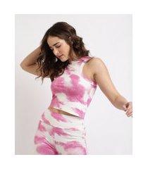 regata feminina mindset cropped estampada tie dye decote redondo rosa