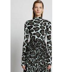 proenza schouler animal jacquard knit top mint/grey xs
